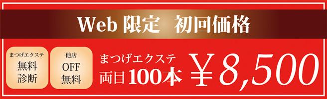 Web限定初回価格 まつげエクステ両目100本8500円